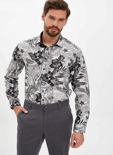 DeFacto Çiçek Desenli Slim Fit Gömlek Gri